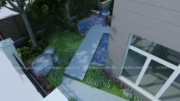 lối đi gấp khúc tạo mỹ quan cho góc vườn