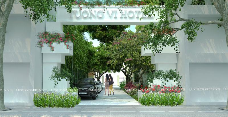 thiết kế cổng vào vườn khách sạn