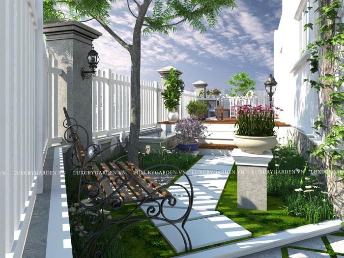 thiết kế sân vườn nhà anh Thập