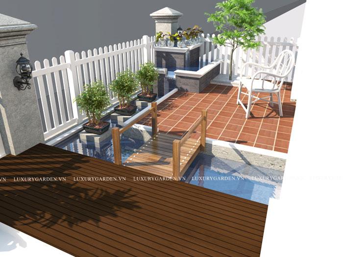 bể nuóc trong thiết kế nhà vườn