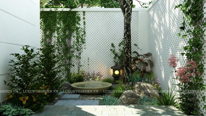 Thiết kế sân vườn biệt thự Ciputra - Một góc nhà vườn đẹp tại biệt thự t26