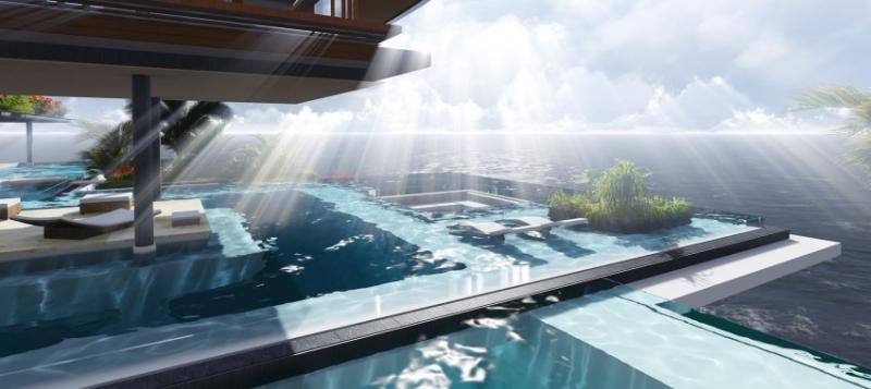 bể bơi ngoài trời tràn ngập ánh nắng