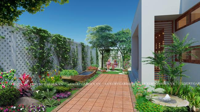 Thiết kế sân vườn biệt thự tại khu đô thị Văn Khê