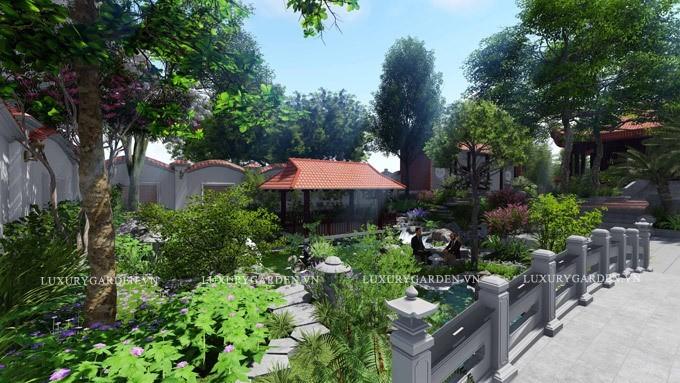 Cây cầu cong là nét tô điểm đặc biệt trong sân vườn