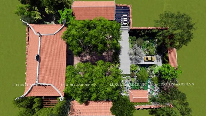 Mặt bằng tổng thể của sân vườn Đào Viên